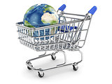 Earth planet in the shopping cart