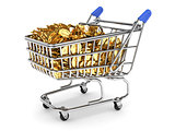 Shopping cart filled with gold coins