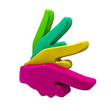 Pointing hands abstract design