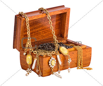 Box with jewelry isolated on whote