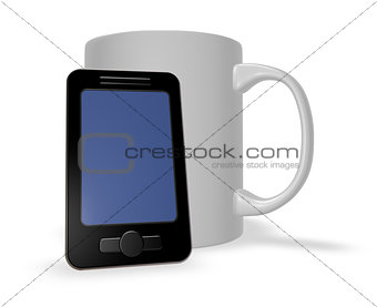 smartphone and mug