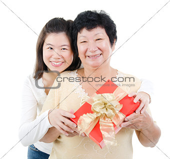 Asian family and gift box