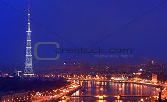 TV Tower with night illumination.