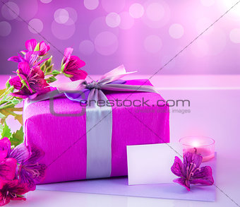 Luxury gift with pink flowers