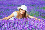 Pretty woman on lavender field