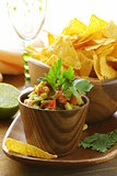 Dip avocado and tomato - guakomole and corn chips