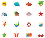 Vector beach icon set