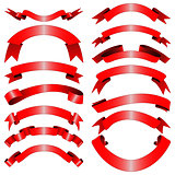 Decorative red ribbons