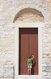 in front of an old door