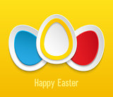 Easter eggs on yellow background.