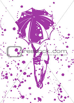 Abstract composition - girl with an umbrella