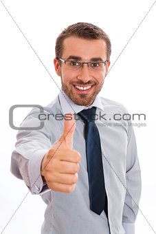 Smiling businessman and thumb up sign