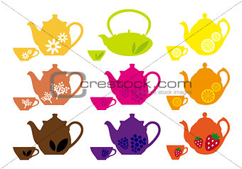 tea pots and cups with fruits, vector