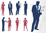 Businessmen and businesswomen silhouettes