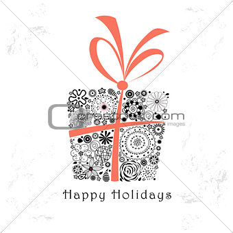 greeting card with ornamental gift
