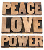 peace, love, power words