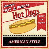 Vintage Hot dog grunge poster