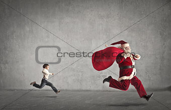 Running after Santa Claus
