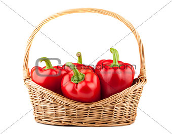 Sweet red pepper in wicker basket