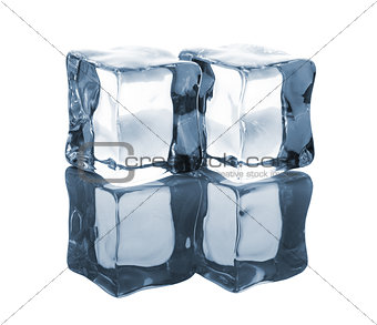 Pair of blue ice cubes with reflection