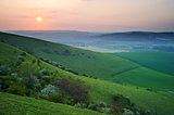 Sunset over English countryside escarpment landscape