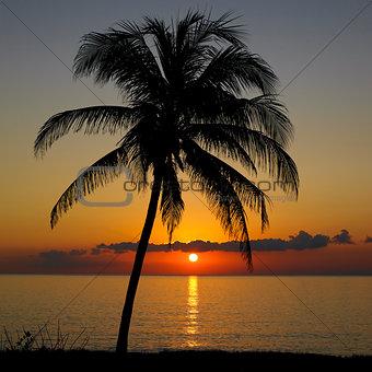 sunset over Caribbean Sea, Maria la Gorda, Pinar del Rio Province Cuba