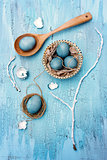 Blue easter eggs still life