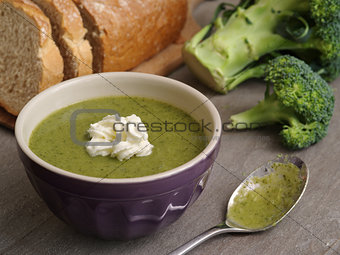 Broccoli soup and bread