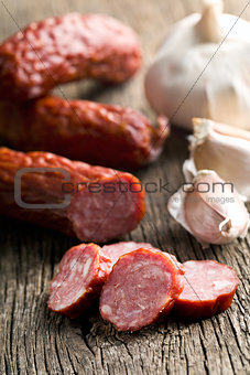 sliced pork sausage