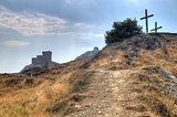 Tower of Genoa fortress in Sudak Crimea From the ground up on th