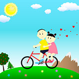 loving couple on a bicycle