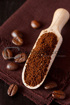Ground coffee.