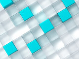 Abstract background consisting of white and blue plastic cubes