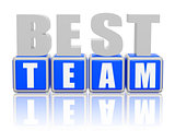 best team - letters and cubes