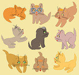 Set Of Cartoon Kittens. Vector Illustration
