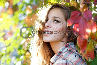 happy blond girl outdoor closeup