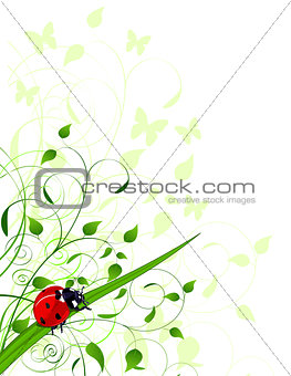 Spring  background with ladybug