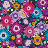Seamless vivid floral checkered pattern