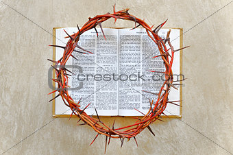 crown of thorns on the Bible