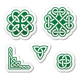 Celtic green knots patterns - vector