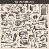 Doodles Collection Of Working Tools Instruments Vector