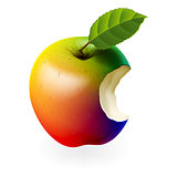Colored bitten apple isolated