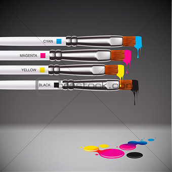 CMYK brushes on grey background