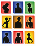 Silhouettes of men and women on colorful glass background