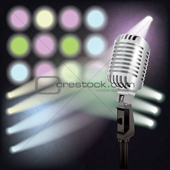abstract background with retro microphone on stage
