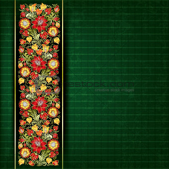 abstract grunge red floral ornament on green