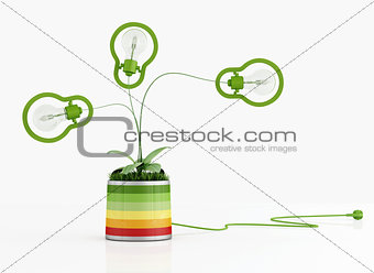 green lamp in a colorful vase