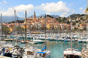 Marina and town of Menton in France.