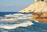 Rocks and waves. Mediterranean sea, Israel.