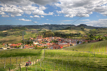 Town of Barolo among hills. Piedmont, Northern Italy.